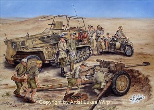 Deutsches Afrika Korps Foto Leinwand Bild DAK Wüste Kampf
