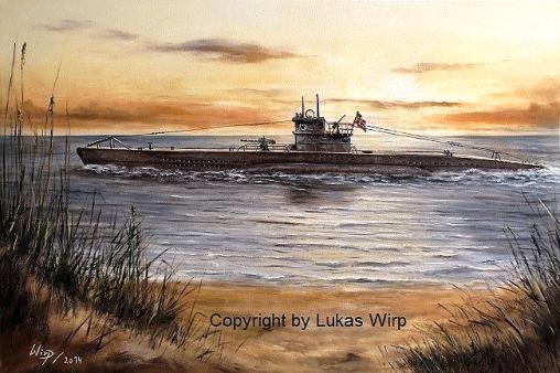 Leinwand Poster Bilder Gemälde Militria U-Boot deutsche Marine 2. Weltkrieg