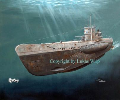 VII C U-Boot getaucht deutsche Marine Kregsmarine Seekrieg