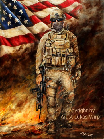Military, art, painting, Lukas wirp, Marines , battle