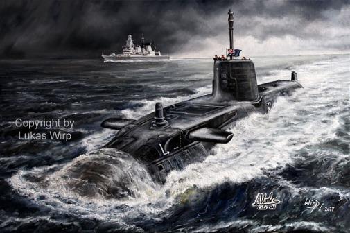 Painting, Marine, U-Boot, Atom, Lukas Wirp