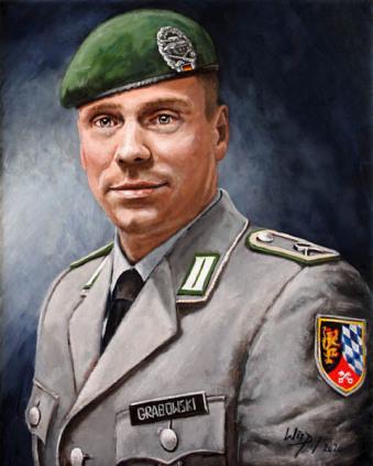 Soldat, Portrait, Gemälde, Lukas Wirp, Auftrag