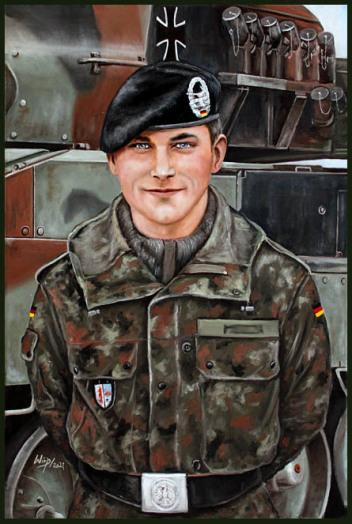 Bundeswehr Soldat der Panzertruppe, Portrait Auftrag