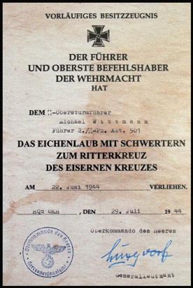 Ritterkreuz Michael Wittmann, Waffen SS